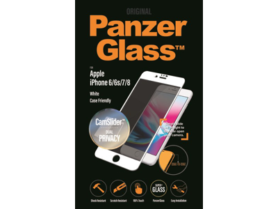 PanzerGlass iPhone 6/6S/7/8 hvid Privacy CamSlider