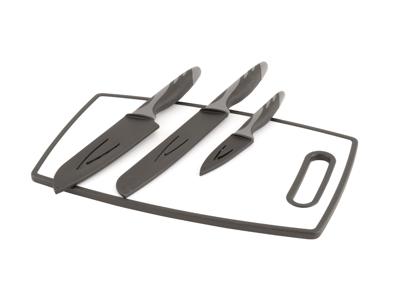 Outwell Caldas Set - Knivsæt & skærebrat - Sort/Hvid