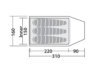Robens Tor 3 - Telt - 3 Personer - Rød