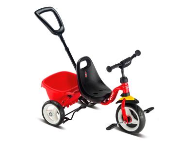 Puky - Ceety - Trehjulet med lad og skubbestang - Rød