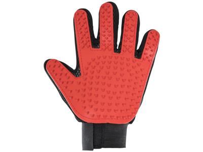 Trespaws Teddy - Handsker til pelspleje på dyr - Sort/Rød