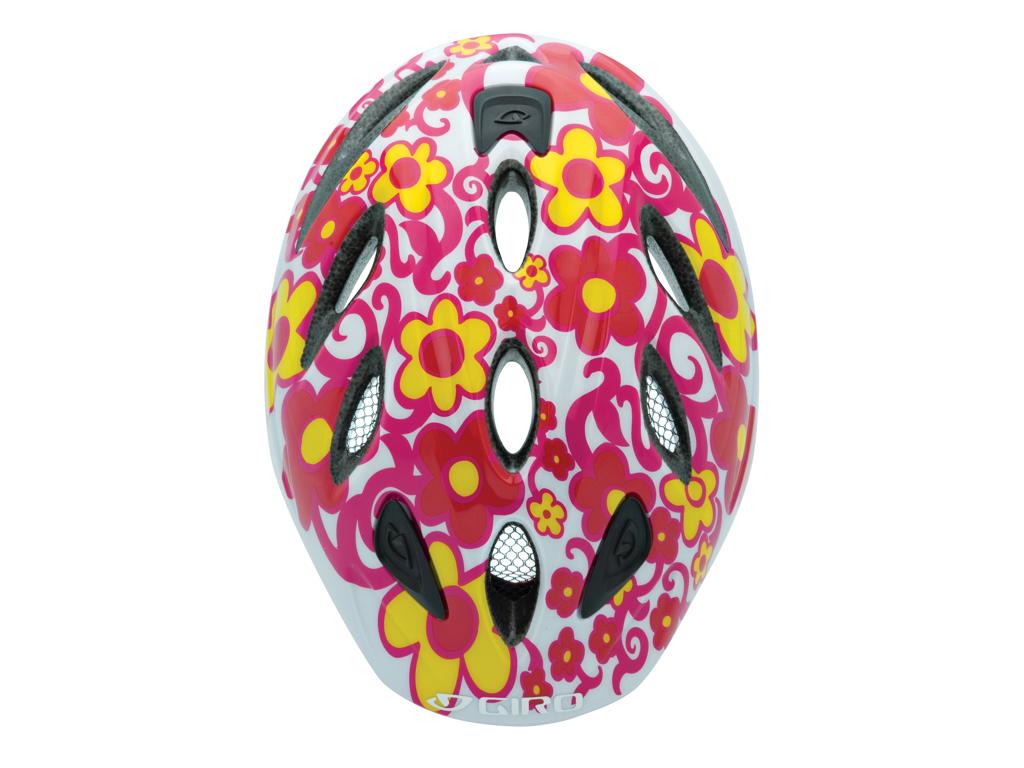 Giro Spree - Cykelhjelm til børn - Str. 46-50cm - Hvid/Rød blomst