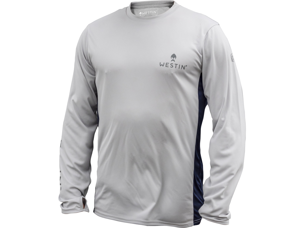 Pro UPF Long Sleeve S Grey/Navy Blue