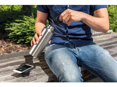 Termoflaske med trådløs opladning, grå