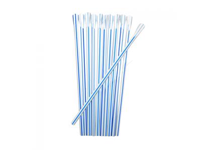Sugerør 20cm m/spade blå-stribet 250 stk.