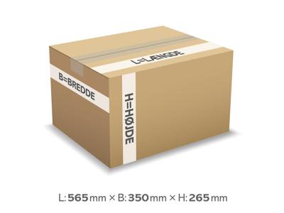 Bølgepapkasse 565x350x256 mm 4 mm - 52 liter