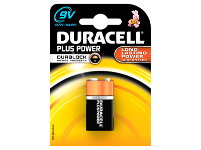 Batteri Duracel plus power 9v 2 stk