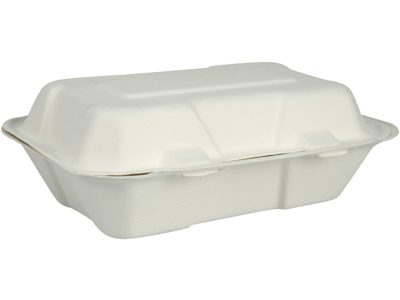 Take away skumbakke 1-rums hvid 50 stk. sukkerrør