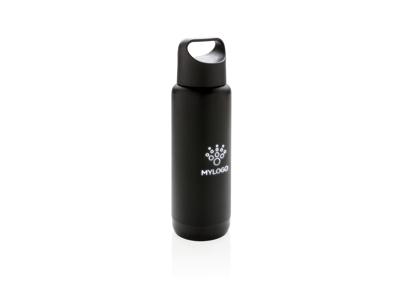 Tætsluttende flaske med logo lys, sort