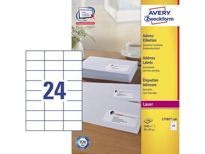 Etiket 70x37mm Avery L7181 24stk/ark 100 ark/æsk