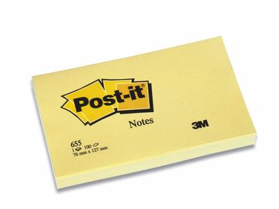 Post it 76x127mm gul 12 Blokke (655)
