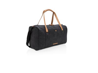 Rejse/weekendtaske i PVC fri kanvas, sort