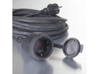 Gummikabel til udendørsbrug 20m sort