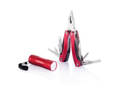 Sæt med multiværktøj og lommelygte, rød