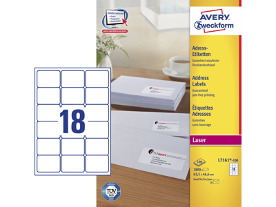 Etiket 63,5x46,6mm Avery L7161 18stk/ark 100 ark/æsk