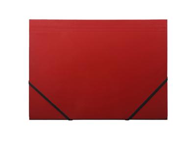 Elastikmappe A4 karton rød m/3 klapper