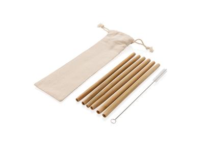 Genanvendelig bambus sugerør - sæt med 6 stk., hvid