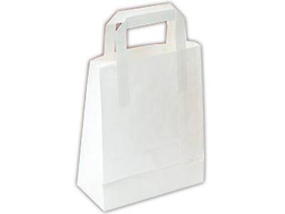 Bærepose papir 180x105x230mm hvid 6 liter flad hank 500 stk
