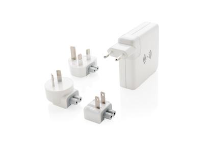 Rejseadapter & trådløs powerbank, hvid