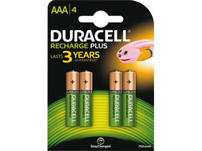 Batteri Duracell AAA 750 mAh genopladelig 4 stk