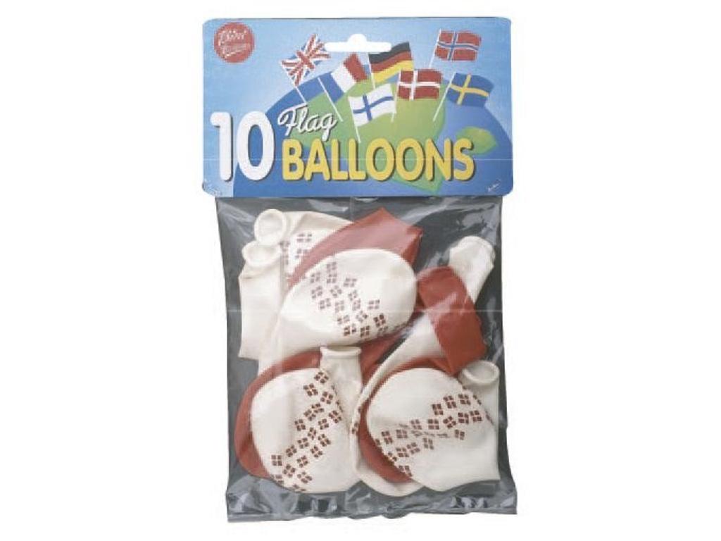 Balloner runde m/flag 10 stk.