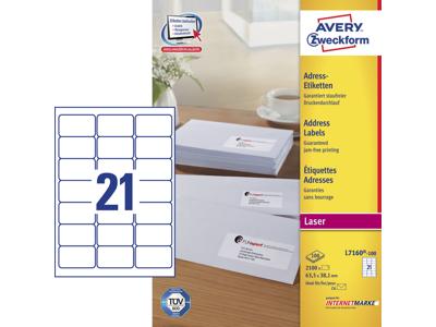 Etiket 63,5x38,1mm Avery L7160 21stk/ark 100 ark/æsk