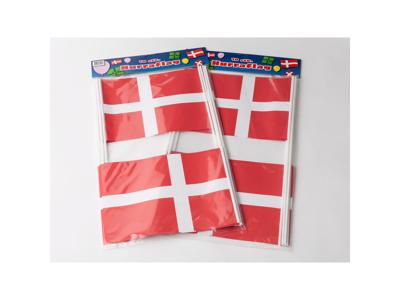 Flag på pind 20x27 rød/hvid 10 stk.