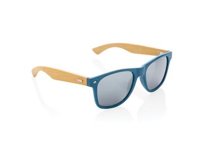 Hvedestrå og bambus solbrille, blå