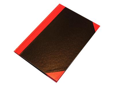 Kina notes A5 linjeret sort/rød