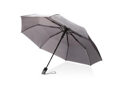 """Deluxe 21"""" foldbar paraply med automatisk åbning, grå"""