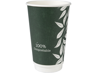 Kaffebæger Green Leaves 16oz/50cl singlewall 25 stk.
