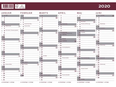 Kartonkalender halvårs A4