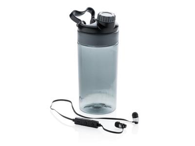 Leakproof flaske med trådløs øretelefoner, grå