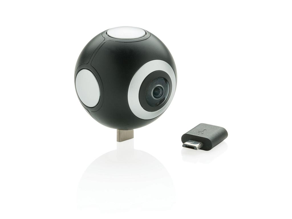 Dobbeltlinset 360 kamera, sort