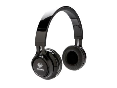 Trådløs hovedtelefon med logo lys, sort