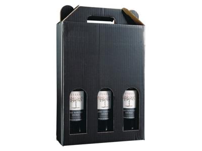 Vinæske sort blank til 3 flasker