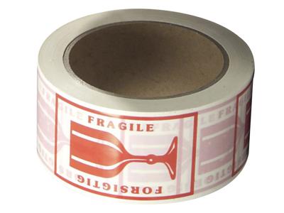 """Tape pakke Pvc 48 mm x 66 meter med rød tryk """"FORSIGTIG"""""""