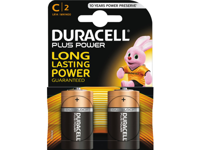 Batteri Duracell plus power C LR14 2 stk