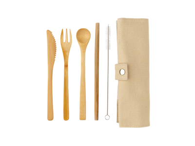 Genanvendelig bambus rejse bestik, hvid
