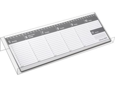 Dag-uge bordkalender, hård PP-plast, grå, FSC Mix 20130000