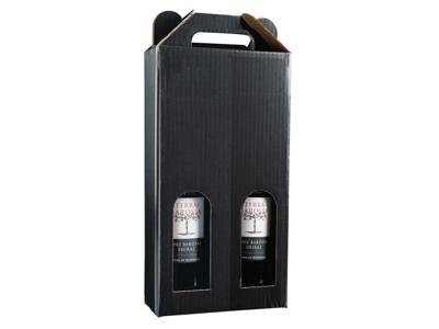 Vinæske sort blank til 2 flasker