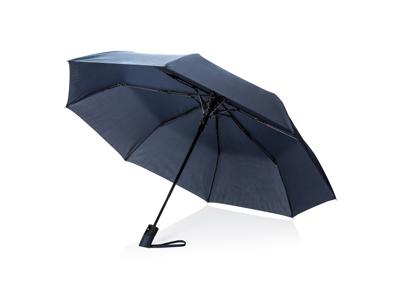 """Deluxe 21"""" foldbar paraply med automatisk åbning, blå"""