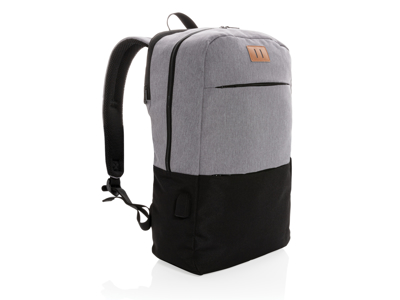 "Moderne 15.6"" USB & RFID laptop taske, PVC fri., sort"