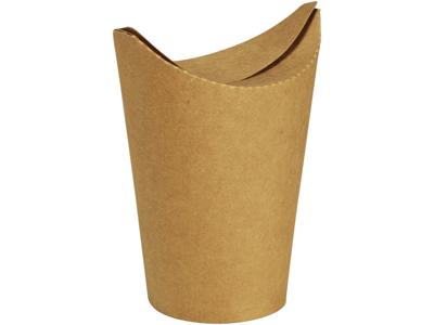 Bæger m/foldelåg 16/12 oz brun PLA/pap 50 stk.
