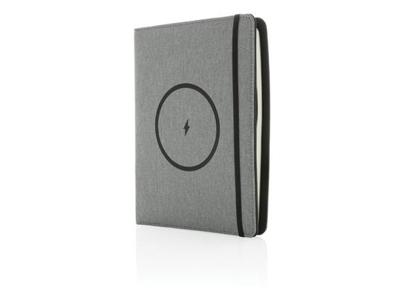 Air - RPET A5 notesbog omslag med trådløs opladning, grå