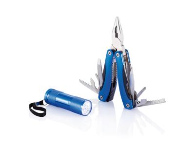 Sæt med multiværktøj og lommelygte, blå