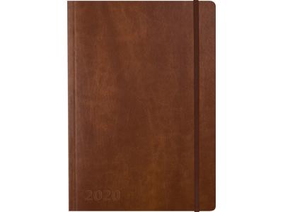 A5 ugekalender Notes, tværformat, kunstskind, brun, FSC Mix