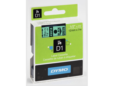 DYMO TAPE SORT/GRØN 12MM 45019