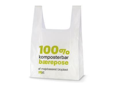 Bærepose Bioplast T-shirt 280/70x500 hvid 14 my 500 stk
