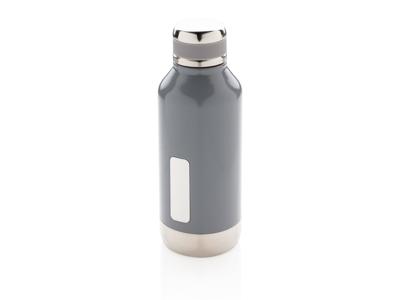 Leakproof vakuum flaske med logo plade, grå